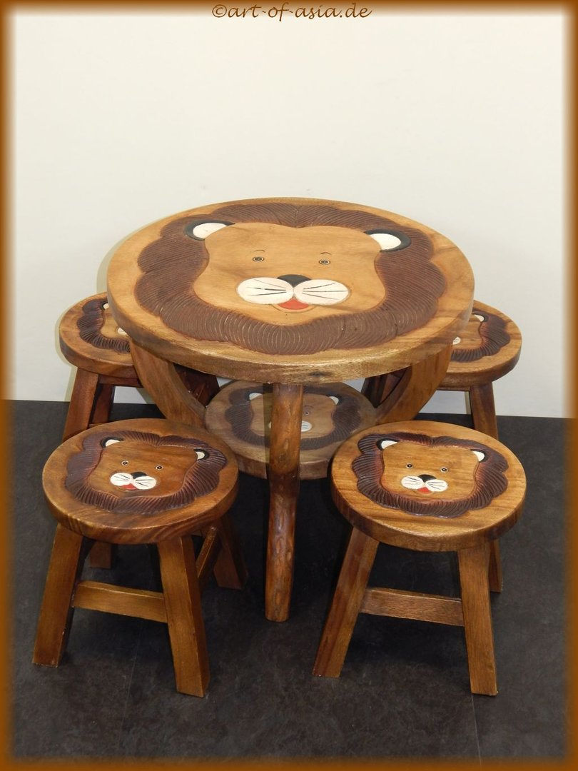kinder tisch mit 4 hocker art of. Black Bedroom Furniture Sets. Home Design Ideas